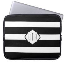 Black & White Stripes Geometric Pattern 2 Laptop Sleeve