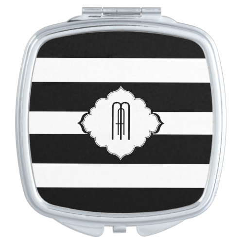 Black & White Stripes Geometric Pattern 2 Mirrors For Makeup