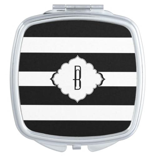 Black & White Stripes Geometric Pattern 2 Mirrors For Makeup