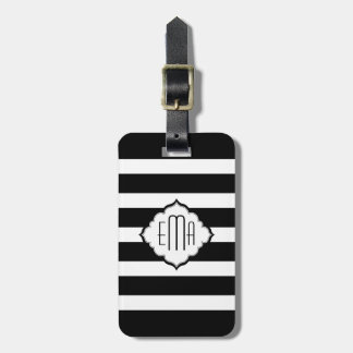 Black & White Stripes Geometric Pattern 2 Travel Bag Tag
