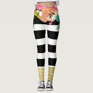 dd5588e781ac9 Black White Stripes Glam Gold Modern Floral Chic Leggings