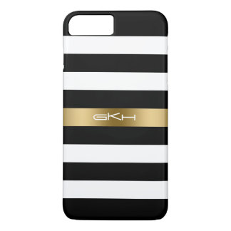 Black & White Stripes Gold Accent iPhone 8 Plus/7 Plus Case