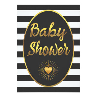 Black White Stripes Gold Foil Baby Shower Card