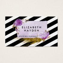 black white stripes gold foil Floral business card
