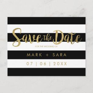 black white stripes gold foil save the date announcement postcard