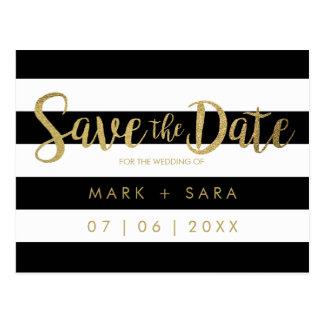 Black & White Stripes Gold Foil Save the Date Postcard