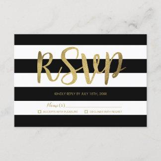 Black & White Stripes Gold Foil Wedding RSVP