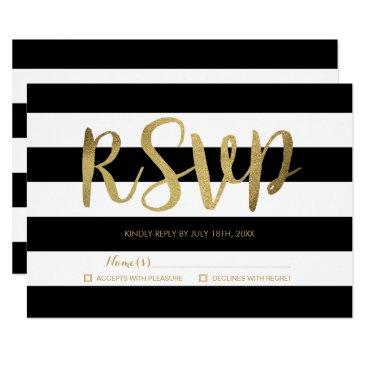 stripystripes Black & White Stripes Gold Foil Wedding RSVP Card