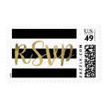Black & White Stripes Gold Foil Wedding RSVP Postage