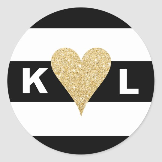 Black White Stripes & Gold Heart Envelope Sealscom