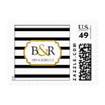 Black White Stripes Gold Monogram Wedding Stamps