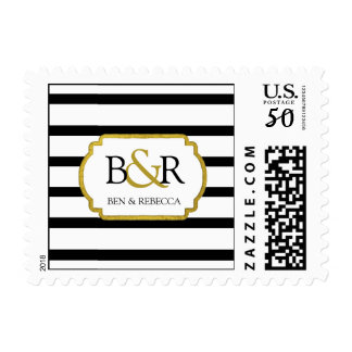 Black White Stripes Gold Monogram Wedding Stamps