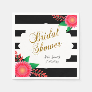 Black & White Stripes, Gold | Pink Bridal Shower Napkin