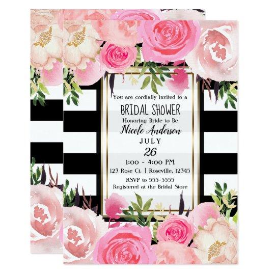 35e82642e96f Black White Stripes Gold Pink Floral Bridal Shower