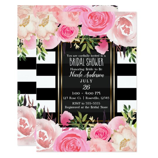 7e821c9f0a0 Black White Stripes Gold Pink Floral Bridal Shower Invitation ...