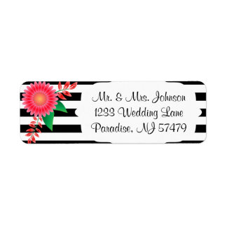 Black & White Stripes, Gold | Pink Flowers | Label