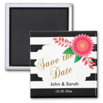 Black & White Stripes, Gold   Pink Save the Date Magnet