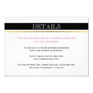 Black white stripes gold, pink wedding insert card