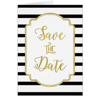 Black White Stripes Gold Save the Date Card