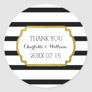 Black White Stripes Gold Wedding Favor Tags