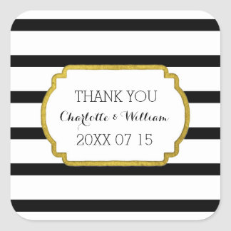 Black White Stripes Gold Wedding Favor Tags Square Sticker