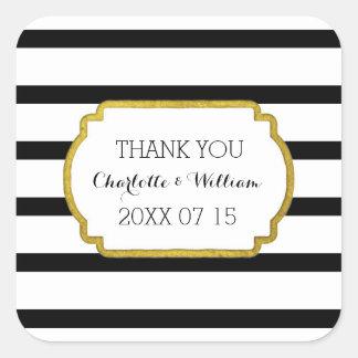 Black White Stripes Gold Wedding Favor Tags Square Sticker