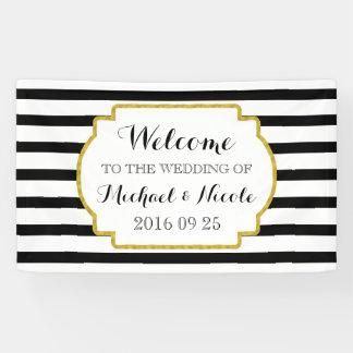 Black White Stripes Gold Wedding Welcome Sign Banner