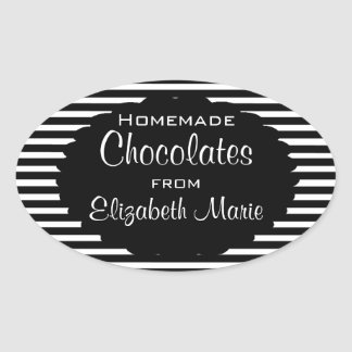 Black White Stripes-Homemade Oval Sticker