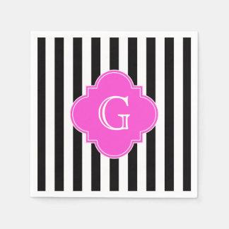 Black White Stripes, Hot Pink Quatrefoil Monogram Paper Napkins
