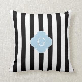 Black White Stripes Light Blue Quatrefoil Monogram Throw Pillow