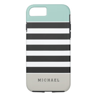 Black White Stripes Mint Beige Monogram Name iPhone 7 Case