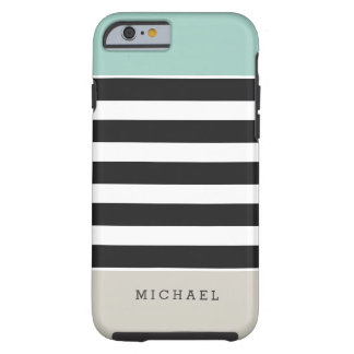 Black White Stripes Mint Beige Monogram Name Tough iPhone 6 Case