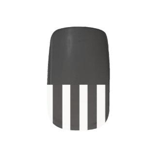 Black & White Stripes Minx Nail Art