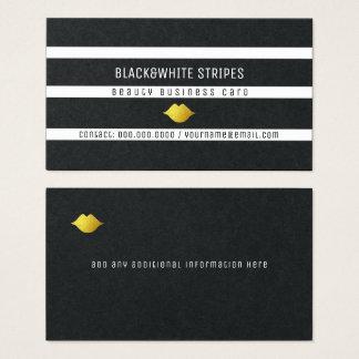 black & white stripes modern beauty business card