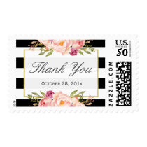 Black White Stripes Modern Floral Decor Thank You Postage
