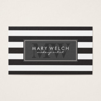 Black White Stripes Monogram (appointment card) Business Card