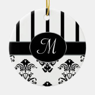 Black & White Stripes, Monogram Baroque Ceramic Ornament