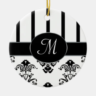 Black & White Stripes, Monogram Baroque Ornament