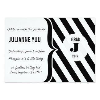"Black & White Stripes Monogram Graduation Invite 5"" X 7"" Invitation Card"