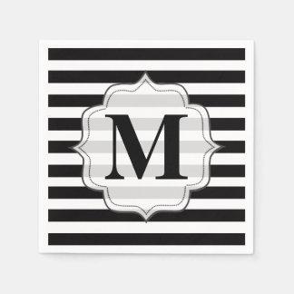 Black & White Stripes Monogram Napkins Standard Cocktail Napkin