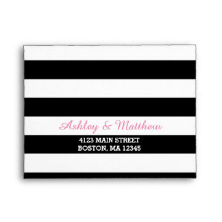 Black & White Stripes Monogram | Pink Lining RSVP Envelope