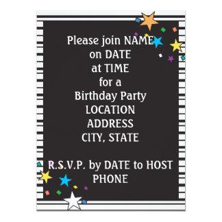 Black White Stripes Oval Party Collage Invitation