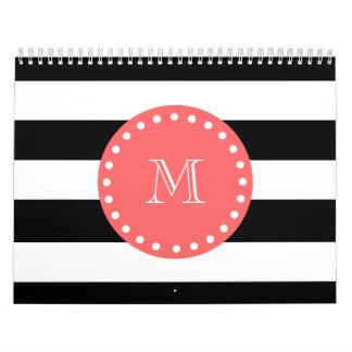 Black White Stripes Pattern, Coral Monogram Wall Calendar