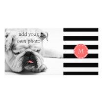 Black White Stripes Pattern, Coral Monogram Card
