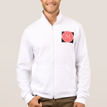 Black White Stripes Pattern, Coral Monogram Jacket