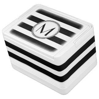 Black | White Stripes Pattern Monogram Drink Cooler