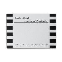 Black   White Stripes Pattern Monogram Post-it Notes