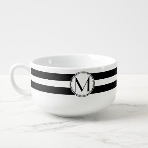 Black | White Stripes Pattern Monogram Soup Mug