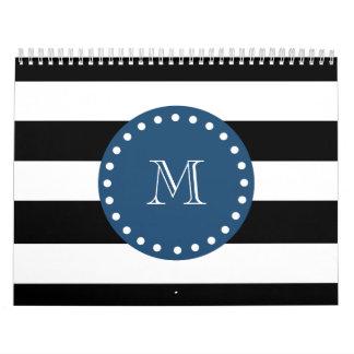 Black White Stripes Pattern, Navy Blue Monogram Calendar