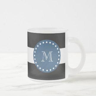 Black White Stripes Pattern, Navy Blue Monogram 10 Oz Frosted Glass Coffee Mug